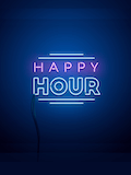 Custom front happy hour neon medium